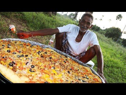 Pizza   Chicken Pizza   Chicken Pizza Cooking by our grandpa for 100 Orphan kids