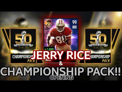 JERRY RICE & CHAMPIONSHIP PACK OPENING!!!!! - Madden Mobile 16