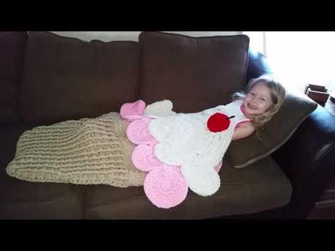Crocheted Ice Cream cone blanket / sleeping bag