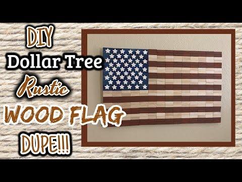 DIY Dollar Tree RUSTIC Wood Flag DUPE!!!! | Dollar Tree Wall Decor