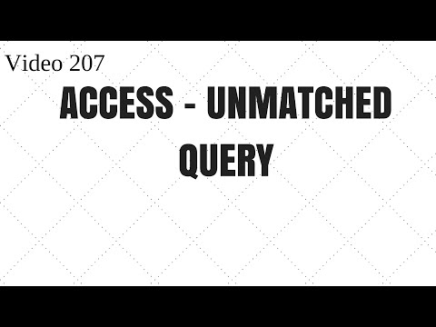 Learn MS Access- Video 207 - Find the Unmatched values from two tables