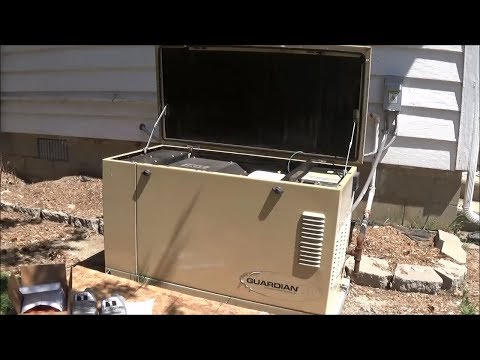Doing tune-up on Generac Guardian 4456-3 12 kW Standby Generator Oil Change Spark Plugs Air Filter