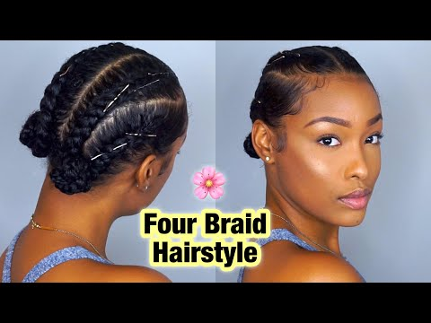 Simple Four Braid Hairstyle For Natural Hair! | FabulousBre