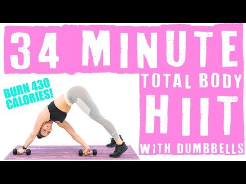 34 Minute Total Body HIIT Workout with Dumbbells 🔥Burn 430 Calories! 🔥