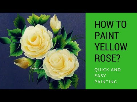 One stroke painting  yellow Rose | quick and easy acrylic painting | step by step