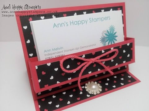 Cute Business card/Post it note holder using New Pop of pink DSP