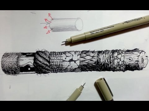 Pen & Ink Drawing Tutorials | How to create realistic textures (Part 2)