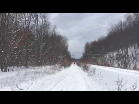 Snowmobile on the tracks