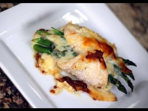 Asparagus Stuffed Chicken Breast Recipe - Baked With Mozzarella Cheese And Onion by Rockin Robin