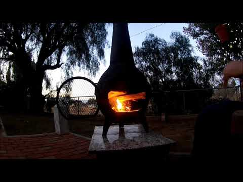 Lighting the fire (new chiminea)