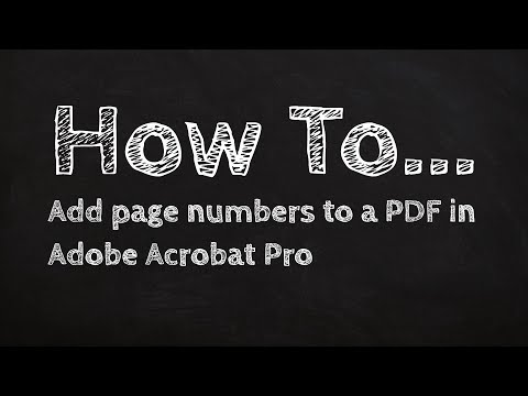 How to Add page numbers to a PDF in Adobe Acrobat Pro