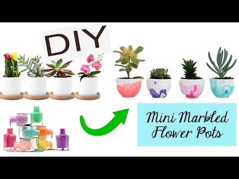 How to : Nail painted Marbled Mini Planters