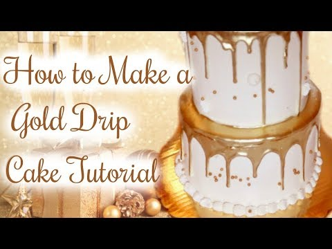 HOW TO MAKE A GOLD DRIP CAKE || Janie's Sweets