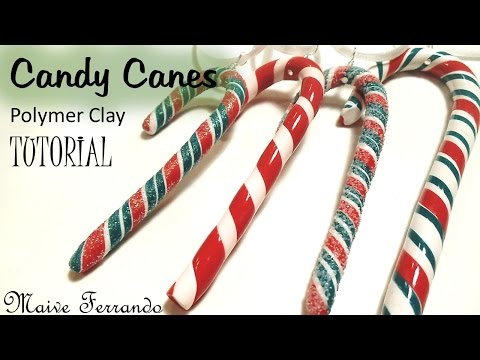 Polymer Clay Candy Canes Christmas Tree Decorations Tutorial | Maive Ferrando
