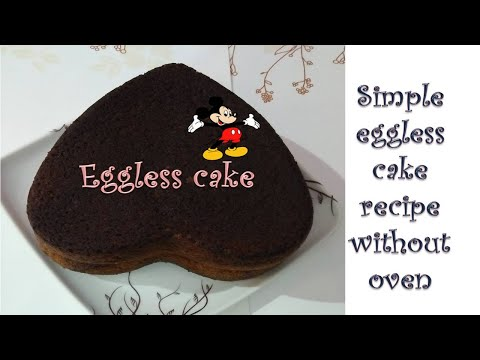 Simple Eggless cake recipe without  microwave in hindi II Soft and spongy cake recipe at home