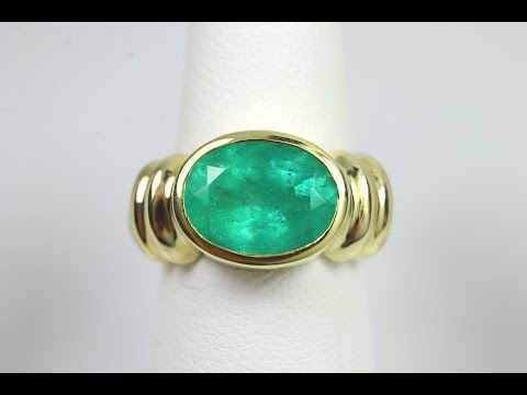 Unisex! 5.25cts Grass Green Natural Colombian Emerald & Gold Solitaire Ring 14k