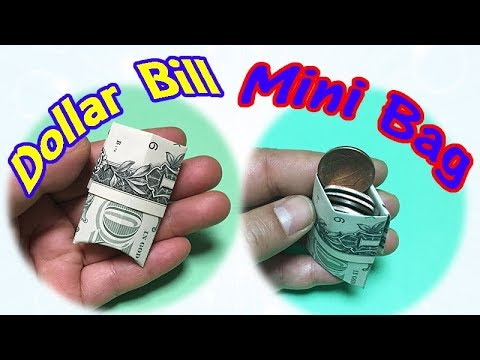 Dollar Bill Origami Bag | How to Make a Easy but Cool Mini Bag out of $1 Money