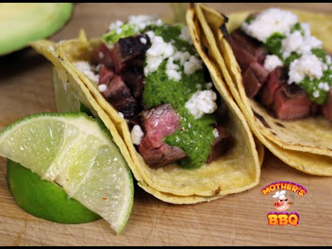 Grilled Flank Steak Tacos with a Cilantro Chimichurri Sauce Recipe