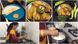 Full day cooking Vlog/Kasi Halwa/Milagai/Vazhaikkai /Karpuravalli  Bajji/Dosai/Tomato Coconut chutne