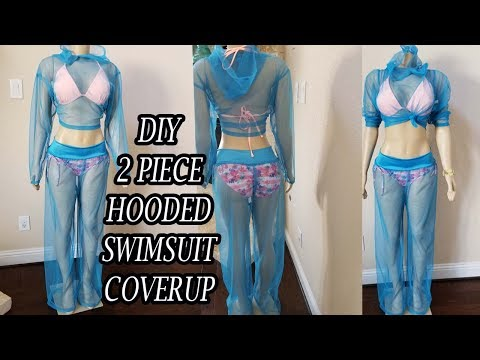 DIY 2 PIECE HOODED SWIMSUIT COVERUP | How to sew a swimsuit coverup easy