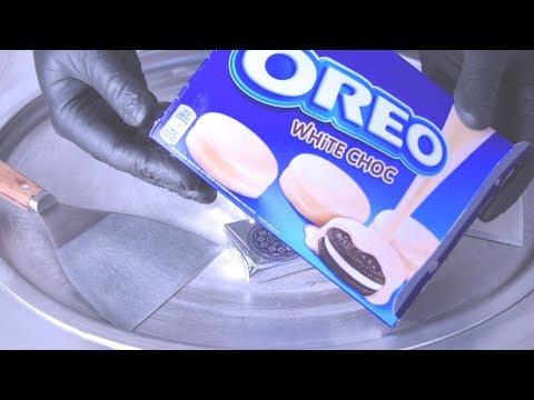 Ice Cream Rolls   Oreo White Choc / Fried rolled ice cream roll with cookie and chocolate mix / ASMR