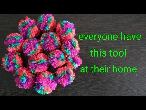DIY   How to make 15 Pom Pom at once in a very easy way   Rainbow Pom Pom