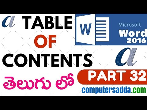 Ms-word 2016 in Telugu 32(Table of Contents) (www.computersadda.com)