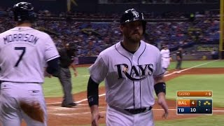 BAL@TB: Longoria works a walk with the bases loaded