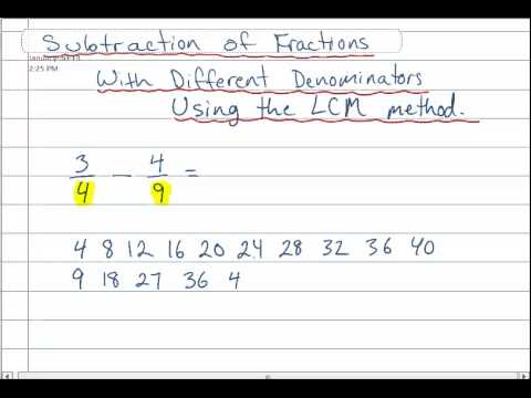Subtracting Fractions Using LCM