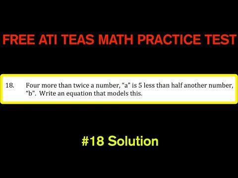 ATI TEAS MATH Number 18 Solution - FREE Math Practice Test - Translating Words to Equations