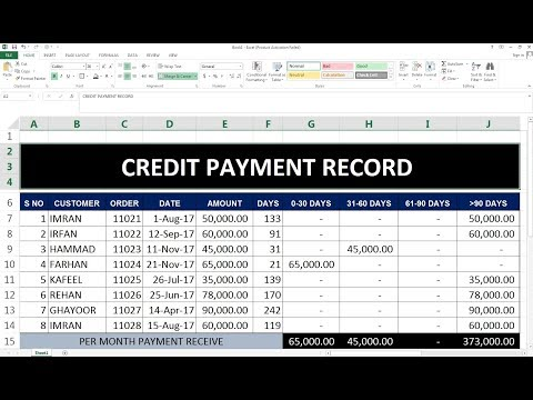 #84 How To Maintain  Credit sale Purchase Payment Record  in Excel (hindi)