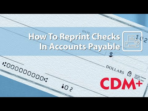 Accounting   How to Reprint a Check
