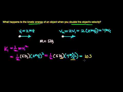 how doubling the velocity of an object effects its kinetic energy