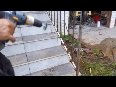 Cleaning Metal Rust  From Iron Railing - Using  Wire Wheel  Brush