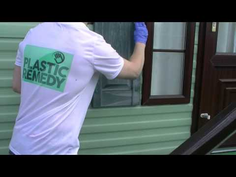 Plastic Remedy restoring faded decorative shutters on a holiday home