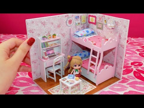 DIY Miniature Doll House Bunk Bed Bedroom - Princess Style