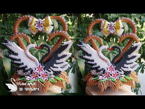 How To Make 3D Origami Love Swans | cómo hacer el cisne de la boda de origami 3D