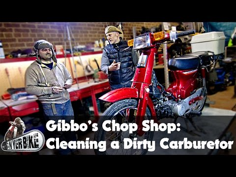 Gibbo's Chop Shop! Cleaning Honda C90 Carburetor and fitting inline Fuel Filter