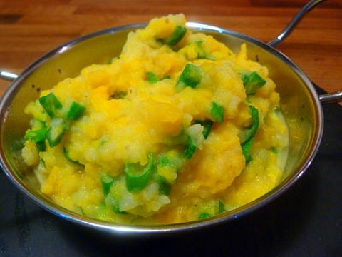 Pumpkin Mash with Parmesan and  Spring Onions