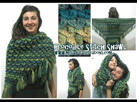 Crocodile Stitch Shawl REVISED - Crochet Tutorial