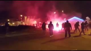 Scontri/fight ultras Lione vs Ultras Roma a Lione | LIONE - ROMA 09/03/2017