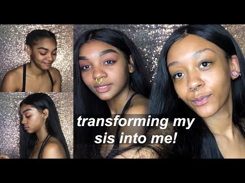 TRANSFORMING MY SIS INTO ME! | 360 LACE WIG INSTALLATION
