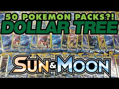 OPENING 50 PACKS OF SUN AND MOON DOLLAR TREE POKEMON CARDS!!