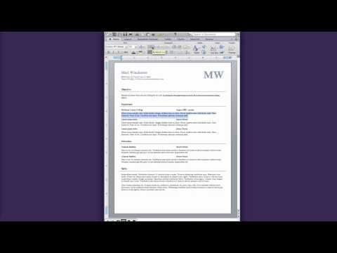 Creating a resume in Word 2011 part 2