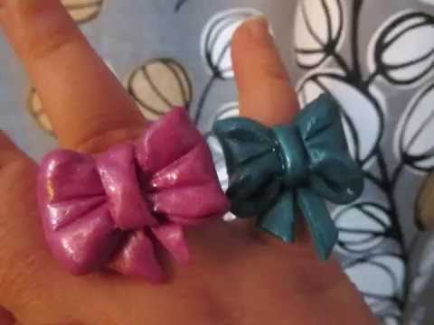 Cute polymer clay bow rings