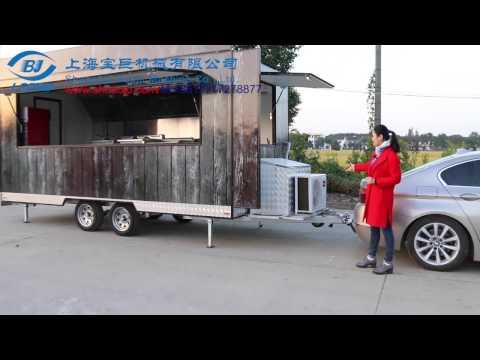 stainless steel food kiosk mobile kitchen trailer recreational street food cart