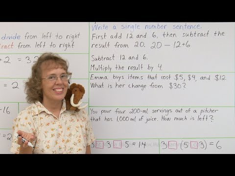 Number sentences with several operations - 4th grade math
