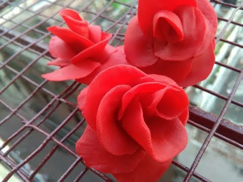 How to make beautiful flower (homemade polymer clay) in four minutes