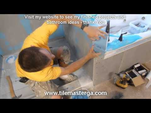 How to waterproof walk-in tile shower DIY- step by step instructions - part
