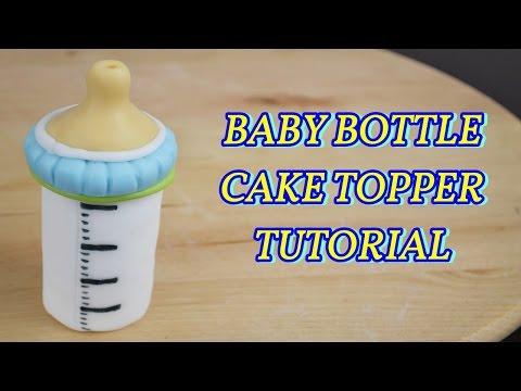 BABY BOTTLE CAKE TOPPER FONDANT - BIBERON PASTA DI ZUCCHERO TORTA DECORATA